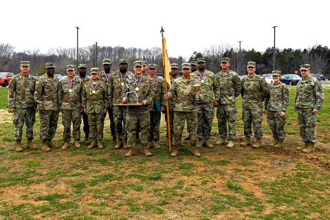 Col. Craig Alia, 101st Combat Aviation Brigade commander, awards a trophy to Soldiers from the 6th General Support Aviation Battalion, 101st CAB March 23, 2018 at Fort Campbell, KY. The Soldiers competed in the 2nd Annual 101st Combat Aviation Brigade Forward Arming and Refueling Point (FARP). (U.S. Army photo by Sgt. Marcus Floyd, 101st Combat Aviation Brigade)