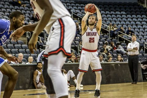 Austin Peay Basketball point guard Zach Glotta scores 21 points in OVC Tournament win over Eastern Illinois Thursday night. (APSU Sports Information)