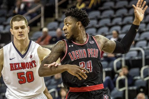 Austin Peay Men's Basketball loses to Belomont 94-79 in OVC Tournament semifinals Friday night. (APSU Sports Information)