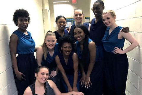 APSU students Claire Estes, Patrick Pride, Britanie Childs, Alexandria Heide, Kelly Barrios, Janesha Boothe, Diondre Booker, Megan Cundiff and Destiny Smith performed an original piece choreographed by Margaret Rennerfeldt at the American College Dance Conference.