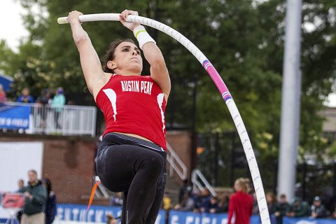 Austin Peay Track and Field junior Savannah Amato tops the podium in the pole vault at the Coastal Carolina Invitational, Friday. (APSU Sports Information)