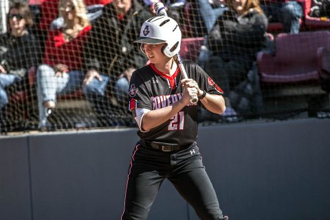 Austin Peay Softball sophomore Kacy Acree hit a double in the seventh inning to drive in the go ahead run in Game 2 against Morehead State, Friday. (APSU Sports Information)