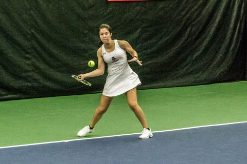 Austin Peay Women Tennis junior Lidia Yanes Garcia defeated Cassie McKenzie in straight sets to remain unbeaten at No. 1 singles. (APSU Sports Information)