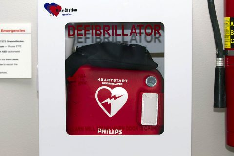 Close up of wall mounted Automated External Defibrillator (AED). (American Heart Association)