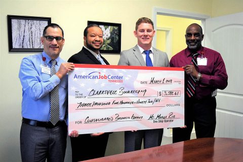 Francisco Vasquez, AJC; Jamaal Bradley, Workforce Essentials; Matthew Phillips, CBTS Owner; and Michael Jackson, AJC.