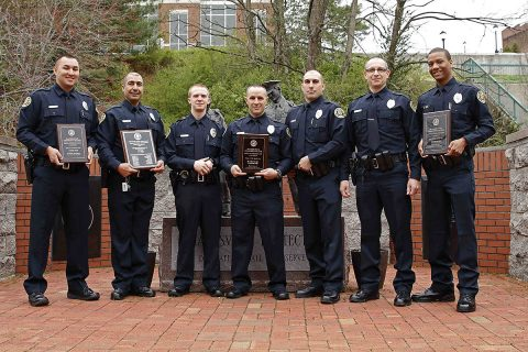 (L to R): Nicholas Rodriguez (Academic Award) , Jamal Alguzweeni (TN Association of Police Chiefs Award), Adam Price, Ryan Creech (Leadership Award), Dylan Lawrence, Shannon Creighton and Elijah Horton (Defensive Tactics Award).(Photo by Jim Knoll, Clarksville Police Department)