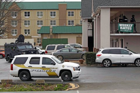 Clarksville Police working hard to negotiate a suicidal man out of his hotel room. (Jim Knoll, Clarksville Police Department)
