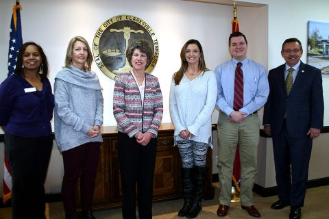 Joining Clarksville Mayor Kim McMillan and TDHA Director Ralph Perrey to celebrate Clarksville's state-leading use of the HHF Down Payment Assistance Program were Danisha Bumpers from US Bank and Heather Damer, Jennifer Candler and Nathan Bryant from Veterans United.