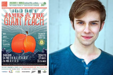 "Seth Hatch stars in ""James and the Giant Peach"" at the Roxy Regional Theatre, March 9th - March 31st."