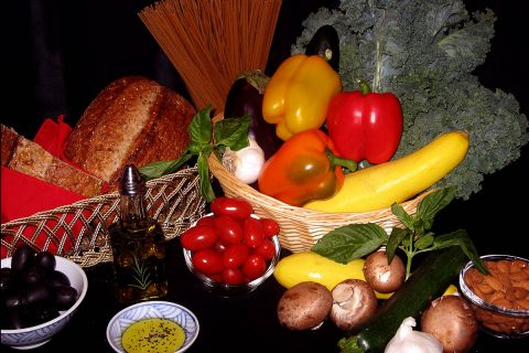 Mediterranean Diet Foods: Vegetables, grains, and olive oil for a Mediterranean diet. (American Heart Association)
