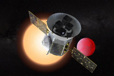 Illustration of the Transiting Exoplanet Survey Satellite (TESS) in front of a lava planet orbiting its host star. TESS will identify thousands of potential new planets for further study and observation. (NASA/GSFC)