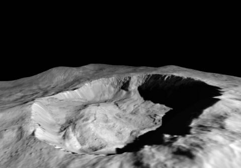 This view from NASA's Dawn mission shows where ice has been detected in the northern wall of Ceres' Juling Crater, which is in almost permanent shadow. (NASA/JPL-Caltech/UCLA/MPS/DLR/IDA/ASI/INAF)