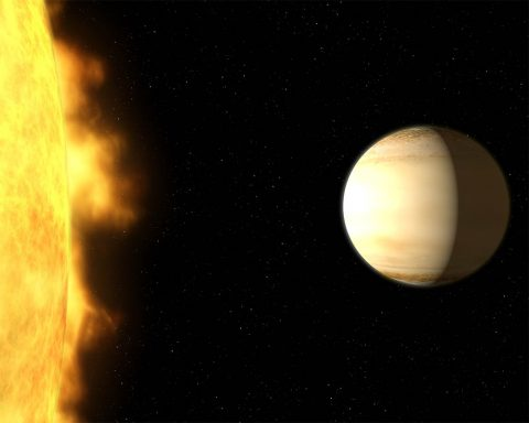 """Using Hubble and Spitzer space telescopes, scientists studied the """"hot Saturn"""" called WASP-39b - a hot, bloated, Saturn-mass exoplanet located about 700 light-years from Earth. By dissecting starlight filtering through the planet's atmosphere into its component colors, the team found clear evidence for a large amount of water vapor. (NASA, ESA, G. Bacon and A. Feild (STScI), and H. Wakeford (STScI/Univ. of Exeter))"""
