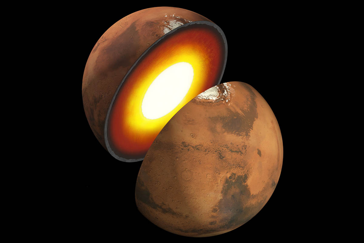 Artist's rendition showing the inner structure of Mars. The topmost layer is known as the crust, underneath it is the mantle, which rests on an inner core. (NASA/JPL-Caltech)