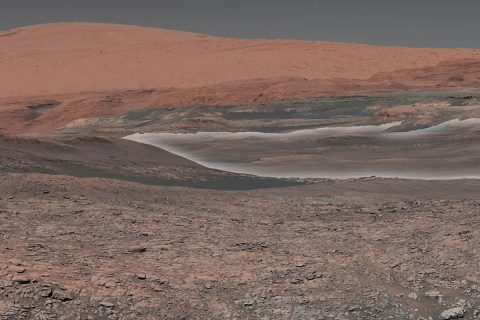 This mosaic taken by NASA's Mars Curiosity rover looks uphill at Mount Sharp, which Curiosity has been climbing since 2014. Highlighted in white is an area with clay-bearing rocks that scientists are eager to explore; it could shed additional light on the role of water in creating Mount Sharp. The mosaic was assembled from dozens of images taken by Curiosity's Mast Camera (Mastcam). It was taken on Sol 1931 back in January. (NASA/JPL-Caltech/MSSS)