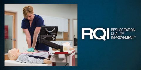 Nurse demonstrating Resuscitation Quality Improvement (RQI®) equipment. (American Heart Association)