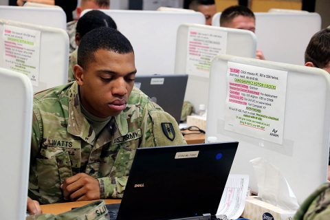 Sgt. Benjamin Watts, assigned to the 501st Area Support Medical Company, 86th Combat Support Hospital, Fort Campbell, Kentucky, completes the Automated Neuropsychological Assessment Metric at the ANAM site on post, September 25th, 2017. (U.S. Army photo by Maria Yager)
