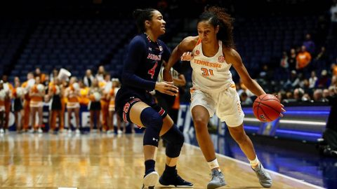 Tennessee Women's Basketball gets 64-61 win over Auburn Thursday night at the SEC Tournament at Bridgestone Arena. (Tennessee Athletics)