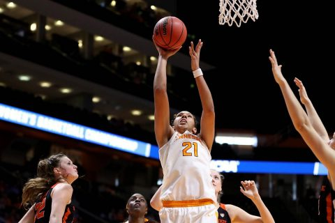 Tennessee Women's Basketball senior Mercedes Russell had 21 points and 14 rebounds in loss to Oregon State, Sunday. (Tennessee Athletics)