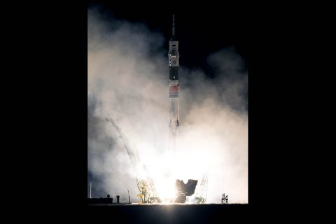 The Soyuz MS-08 spacecraft carrying NASA astronauts Drew Feustel and Ricky Arnold, and Oleg Artemyev of the Russian space agency Roscosmos, lifts off from the Baikonur Cosmodrome in Kazakhstan at 1:44pm EDT March 21, 2018 (11:44pm Baikonur time). The crew is scheduled to dock to the International Space Station at 3:41pm March 23, 2018. (NASA/Joel Kowsky)