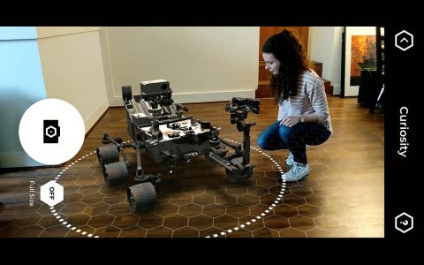 The free Spacecraft AR app uses Google ARCore technology to put virtual 3-D models of NASA robotic spacecraft, such as the Curiosity Mars rover seen here, into any environment with a flat surface. (NASA/JPL-Caltech)
