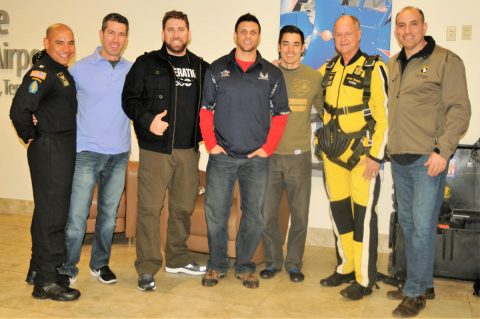 "Maj. Gen. Andrew Poppas (right), 101st Airborne Division (Air Assault) commander, poses with Lt. Col. Carlos Ramos (left), U.S. Army Parachute Team ""Golden Knights"" commander, and Key community leaders during a two-day tandem parachute skydiving event facilitated by the ""Golden Knights"" at Outlaw Field, Clarksville Regional Airport, March 2nd -3rd, 2018. (Staff Sgt. Lerone Simmons, 101st Airborne Division (Air Assault) Public Affairs)"