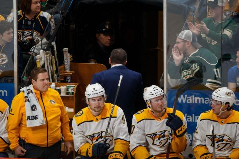 Mar 24, 2018; Saint Paul, MN, USA; Nashville Predators head coach Peter Laviolette gets a game misconduct penalty in the third period against Minnesota Wild at Xcel Energy Center. Mandatory Credit: Brad Rempel-USA TODAY Sports