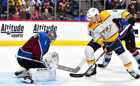Nashville Predators center Colton Sissons (10) shoots on Colorado Avalanche goaltender Semyon Varlamov (1) in the first period at the Pepsi Center. ( Ron Chenoy-USA TODAY Sports)