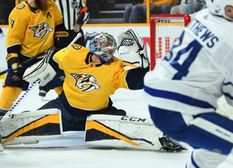 Nashville Predators goalie Pekka Rinne (35) is unable to stop a shot by Toronto Maple Leafs center Auston Matthews (34) during the second period at Bridgestone Arena. (Christopher Hanewinckel-USA TODAY Sports)