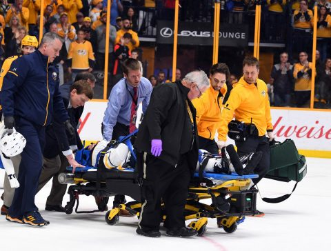 Buffalo Sabres defenseman Viktor Antipin (93) is taken off the ice on a stretcher after being hit into the boards by Nashville Predators left wing Scott Hartnell (not pictured) during the second period at Bridgestone Arena. (Christopher Hanewinckel-USA TODAY Sports)