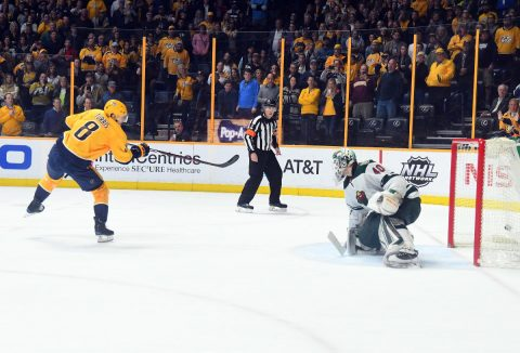 Nashville Predators center Kyle Turris (8) scores in the shootout against Minnesota Wild goalie Devan Dubnyk (40) at Bridgestone Arena. (Christopher Hanewinckel-USA TODAY Sports)