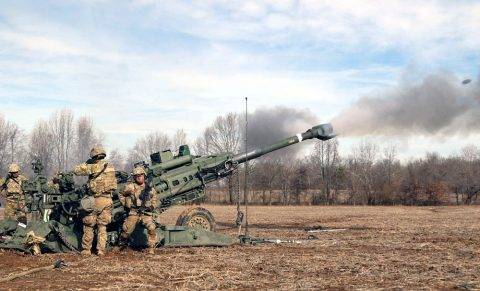Artillerymen from C Battery, 3rd Battalion, 320th Field Artillery Regiment, 101st Airborne Division Artillery Brigade, 101st Airborne Division (Air Assault), conduct a platoon-level external evaluation live-fire, Jan. 31, 2018, at a Fort Campbell, Kentucky, training area. This training is conducted twice a year and is part of progressive training evaluations which begin with individual testing, and continues through battalion-level. (Sgt. Sharifa Newton, 40th Public Affairs Detachment)