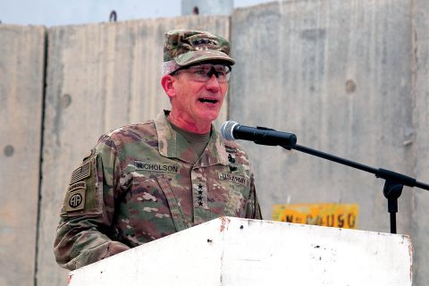 Gen. John Nicholson, Resolute Support and U.S. Forces-Afghanistan commander, presides over the 101st Airborne Division (Air Assault) and 3rd Infantry Division transfer of authority ceremony, April 15, at Bagram Airfield, Afghanistan. Maj. Gen. Andrew Poppas, commanding general of the Fort Campbell, Kentucky-based 101st Abn. Div., assumes the role and responsibility as the Resolute Support deputy chief of staff for operations and the U.S. Forces-Afghanistan deputy commanding general for operations. (Staff Sgt. Lerone Simmons, U.S. Forces Afghanistan)
