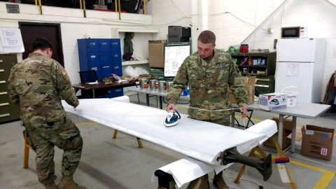 Soldiers with B. Company, 96th Aviation Support Battalion, 101st Combat Aviation Brigade repair a damaged World War II era-glider wing November 20, 2017 at Fort Campbell, Ky. As one of the few remaining World War II-era gliders in the world, many Soldiers from the 101st Airborne Division (Air Assault) used gliders. (Staff Sgt. Ian Thompson, 101st Combat Aviation Brigade)
