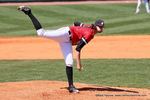 Austin Peay Baseball pitcher Brandon Vial holds UT Martin scoreless for six inning as the Governors defeat the Skyhawks 10-4 at Raymond C. Hand Park, Sunday afternoon.