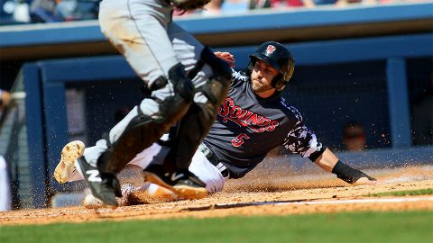 Nashville Sounds Center Fielder Dustin Fowler Collects Three Extra-Base Hits, Including Two-Run Homer. (Nashville Sounds)
