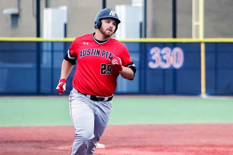 Austin Peay Baseball's Brett Newberg hits three home runs in Govs victory over Belmont, Friday. (APSU Sports Information)