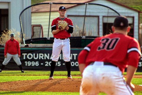 Austin Peay Baseball pitcher Jacques Pucheu throws six scoreless innings to power Govs to 8-4 win over UT Martin Saturday at Raymond C. Hand Park. (APSU Sports Information)