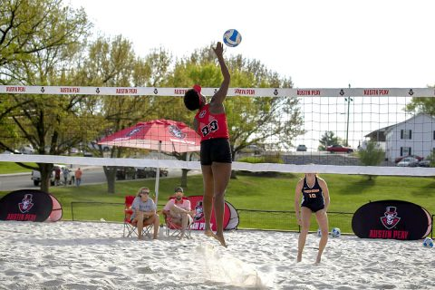 Austin Peay Beach Volleyball's Ashley Slay (pictured) and Cori Theiss get a two set win in their match against Carson-Newman Saturday afternoon at Ohio Valley Challenge. (APSU Sports Information)