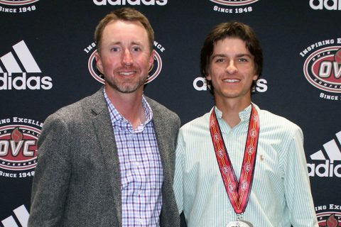 Austin Peay Men's Golf freshman Chase Korte (right) with head coach Robbie Wilson (left) at the OVC Awards Banquet. (APSU Sports Information)