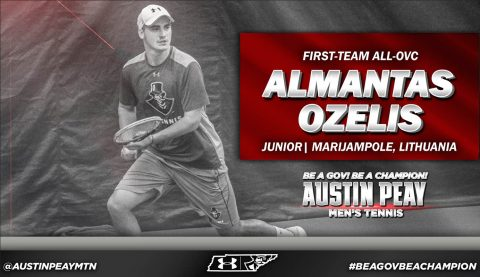 Almantas Ozelis with the Austin Peay Men's Tennis team has been named to the First Team All OVC. (APSU Sports Information)