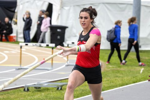 Austin Peay Women's Track and Field junior Savannah Amato sets new APSU record in the pole vault at the Hilltopper Relays, Friday. (APSU Sports Information)