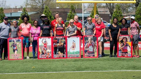 Austin Peay honored Track and Field seniors Sarah-Emily Woodward, Ashleigh Woods, Becca Wheeler, Gretchen Rosch, Sarah Carpenter, and Allysa Scott at the APSU Invitational, Friday. (APSU Sports Information)