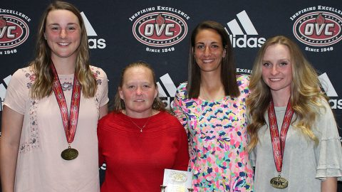 Austin Peay Womens Golf's (L to R) Reagan Greene, former head coach Sara Robson, head coach Amy McCollum, and Ashton Goodley earn honors at OVC Awards Banquet. (APSU Sports Information)