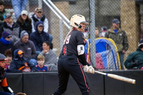 Austin Peay Softball's splits doubleheader at Samford Wednesday winning first game 4-1 before losing second game, 8-4. (APSU Sports Information)