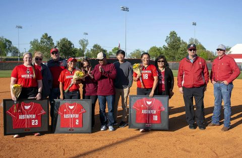 Austin Peay Softball celebrated (L to R) Alexis Hill, Erica Inagaki and Savanna Oliver on Senior Day, Sunday. (APSU Sports Information)