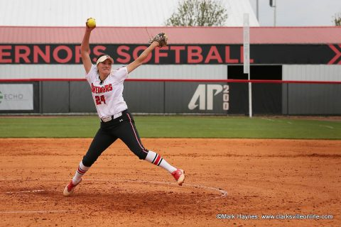 Austin Peay Softball starter Kelly Mardones pitched five scoreless innings against Alabama A&M, Wednesday. (APSU Sports Information)