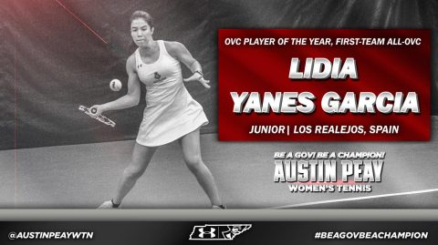 Austin Peay Women's Tennis team's Lidia Yanes Garcia named OVC Player of the Year. (APSU Sports Information)