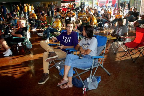 Clarksville residents gather to cheer on the Predators at a Stanley Cup Finals viewing party in the City's Wilma Rudolph Events Center last Spring.