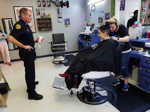 Clarksville Police Chief Ansley at Chat and Cut.